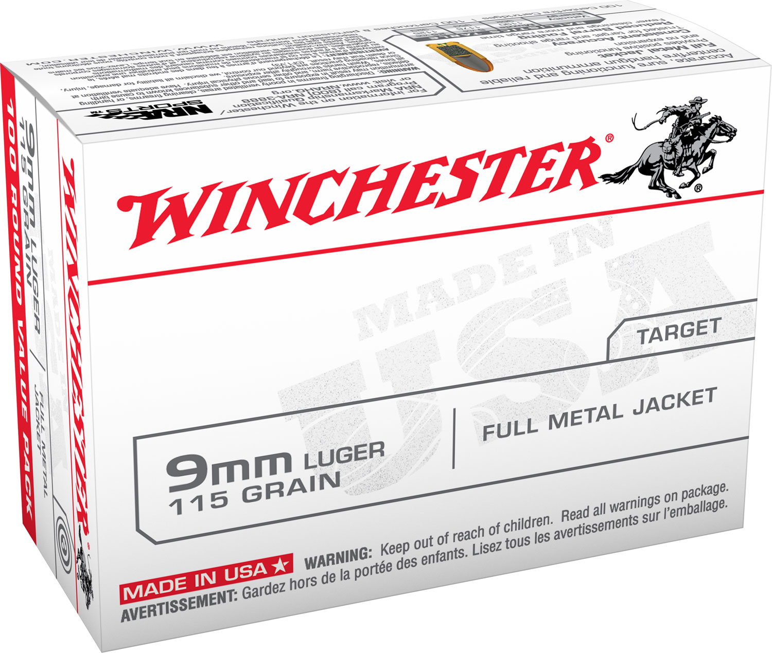 Winchester Ammo USA9MMVP USA 9mm Full Metal Jacket 115 GR 100Box/10Case