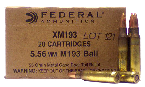 Federal XM193 XM 5.56 NATO Boat Tail Metal Case 55 GR 20Box/25Case