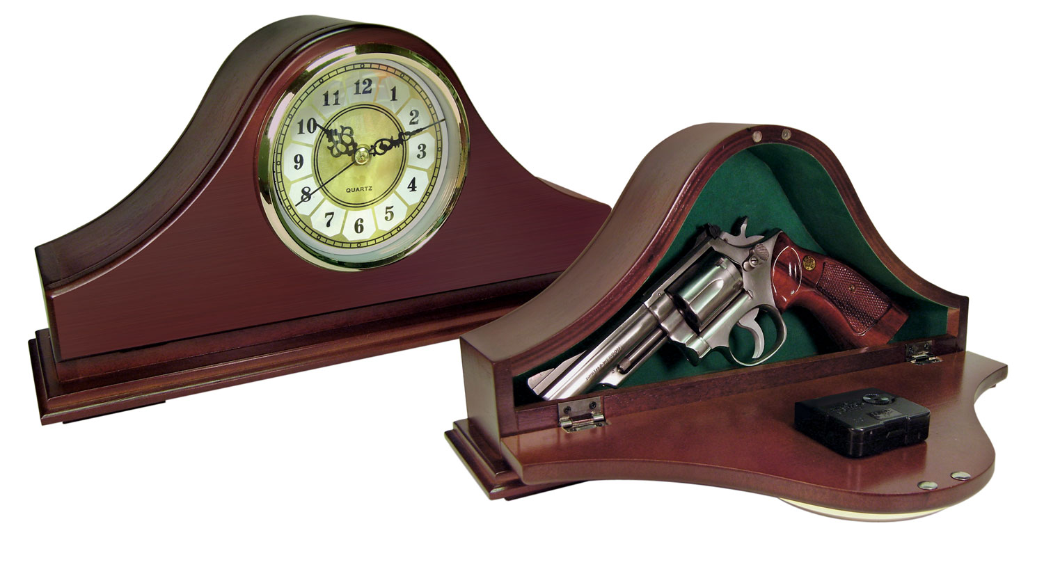 Peace Keeper MGC Concealment Mantle Clock 14x7x3 Wood Mahog