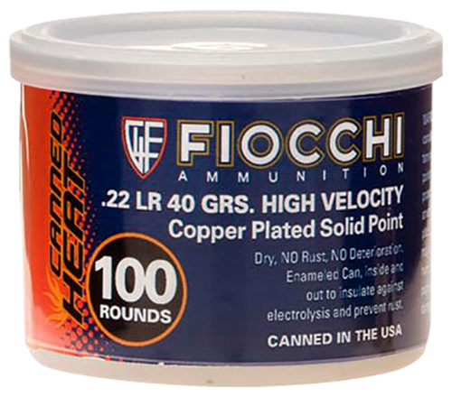 Fiocchi 22CHVCRN Canned Heat 22LR Copper Plated Solid Point 40 GR 100Bx/10Cs