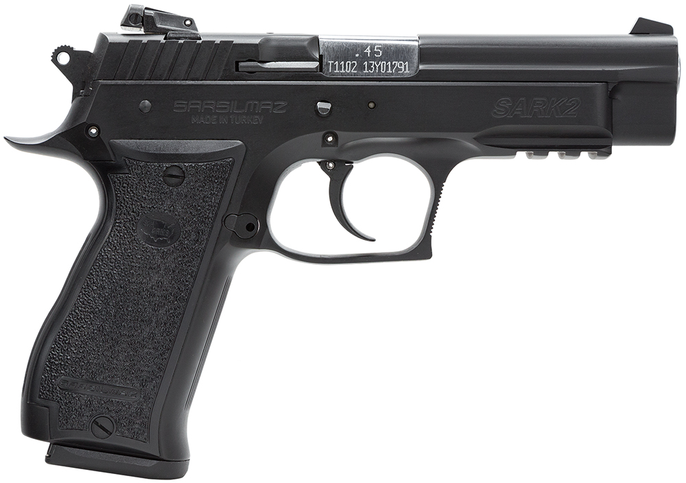 SAR 170840 K2P 45 ACP 4.7″ 14+1 Black Grips Blued Finish