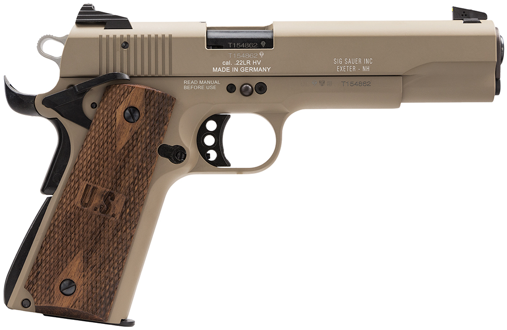 Sig Sauer 191122FDE 1911 Single 22LR 5″ 10+1 Contrast Sights Rosewood Grip FDE