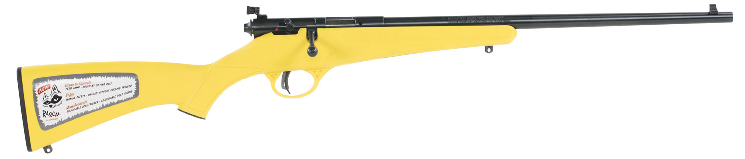 Savage 13805 Rascal Bolt 22 Long Rifle  Yellow Synthetic