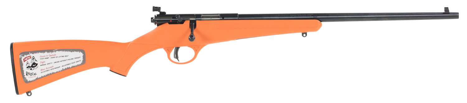 Savage 13810 Rascal Bolt 22 Long Rifle Orange Synthetic