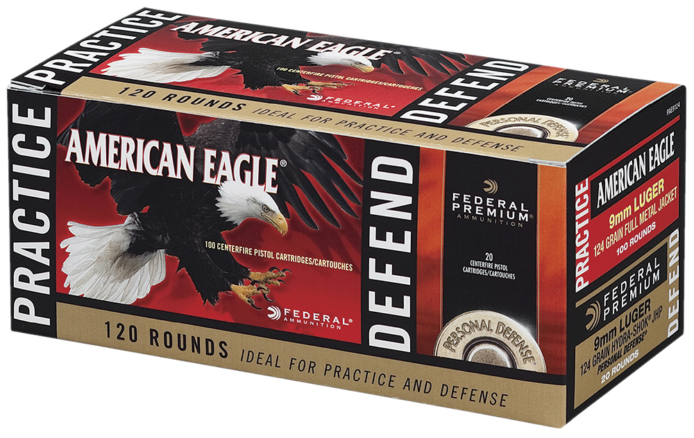 Federal PAE9124 Practice/Defend Combo 9mm 124GR FMJ/120GR JHP 120Box/4Case