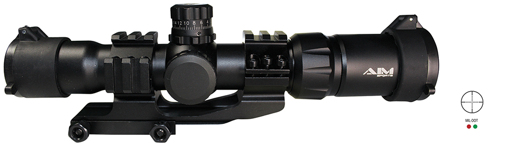 Aim Sports JTMR1 Recon 1.5-4x 30mm Obj 85-25ft@100yds FOV 30mm Tube Mil-Dot RGB