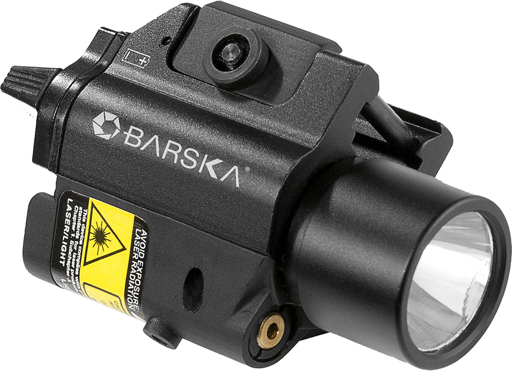 Barska AU11846 Green Laser w/Light 200 Lumens 5mW On/Off Cable CR123A (2) Black