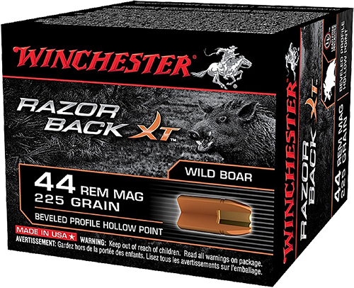 Winchester Ammo S44MWB Razorback XT 44 Remington Magnum 225 GR Hollow Point 20 Bx/10 Cs