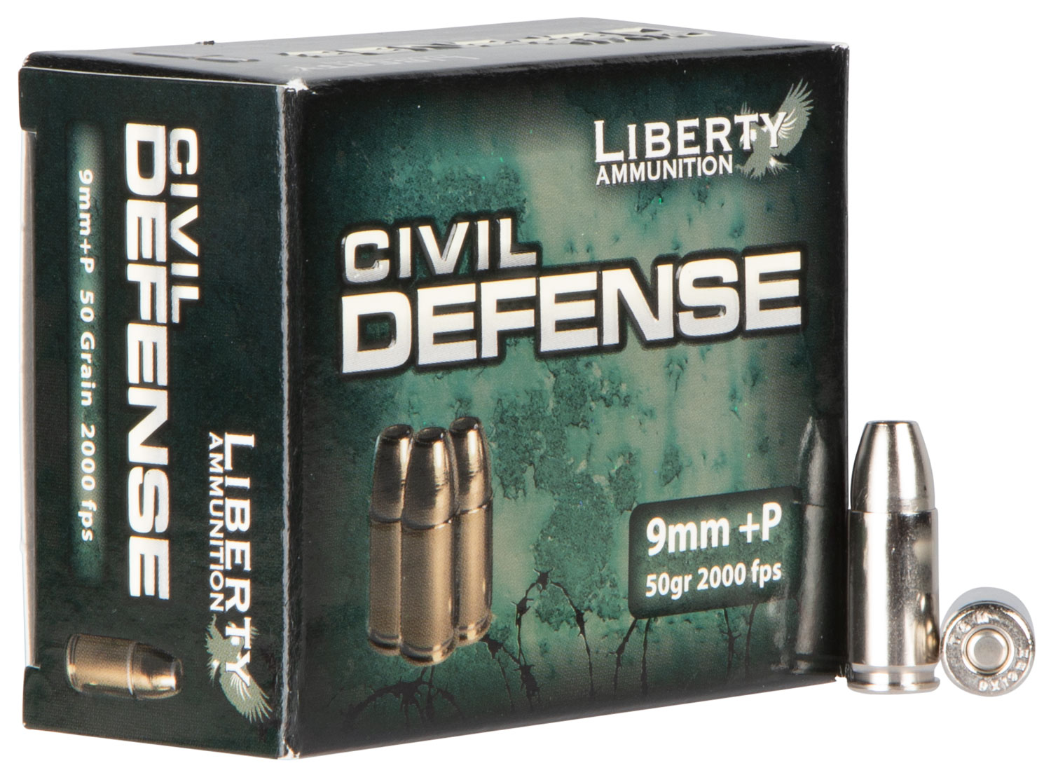 Liberty Ammunition 8MM Civil Defense 9mm 50GR LF Fragmenting HP 20Box/50Case