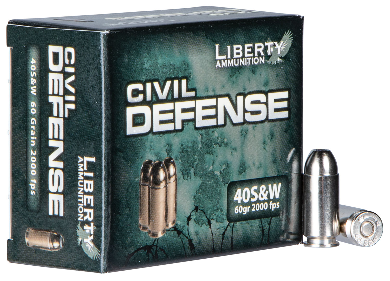 Liberty LA-CD-40-012 Civil Defense 40S&W 2000fps 60GR Lead-Free 20Bx/50Cs
