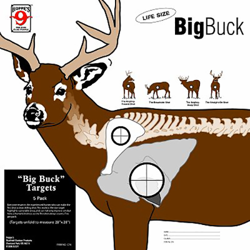 Hoppes CT6 Deer Target Zone Paper 28″x28″ 5 Pack