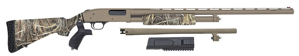 Mossberg 50127 500C FLEX Waterfowl/Security Pump 12ga 28″/18.5″ VR Syn Max-4 Tan