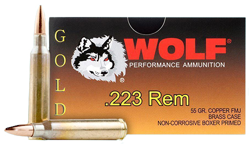 Wolf G22355FMJ Gold 223 Rem/5.56 NATO Full Metal Jacket 55 GR 20Box/50Case