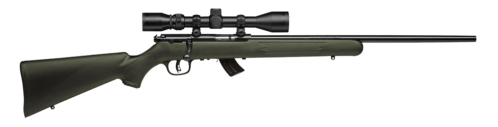 "Savage 26721 Mark II FXP w/ Scope Bolt 22 LR 21"" 5+1 OD Green Synthetic Stk Blk"