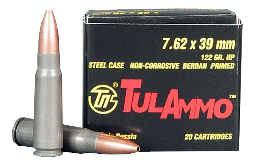 Tulammo UL076202 Centerfire Rifle 7.62X39 Hollow Point 122GR 20Bx/50Cs