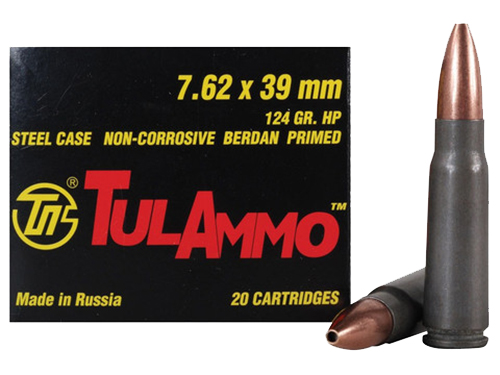 Tulammo UL076204 Centerfire Rifle 7.62X39 124GR Hollow Point 20Bx/50Cs