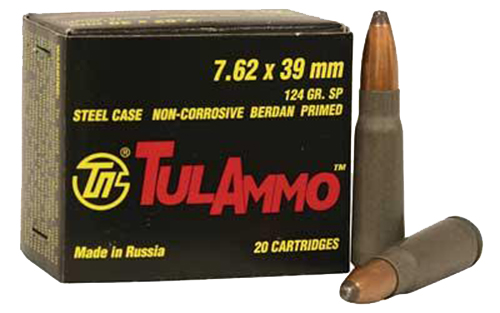 Tulammo UL076206 Centerfire Rifle 7.62mmX39mm 124GR Soft Point 20Bx/50Cs