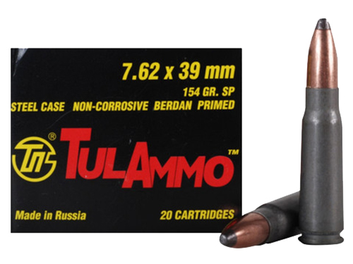 Tulammo UL076208 Centerfire Rifle 7.62X39 154GR Soft Point 20Bx/50Cs