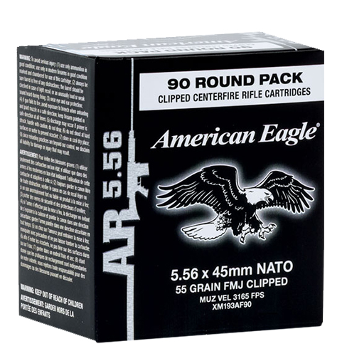 Federal XM193AF90 American Eagle 5.56 NNATO Clipped FMJ 55 GR 90Box/5Case