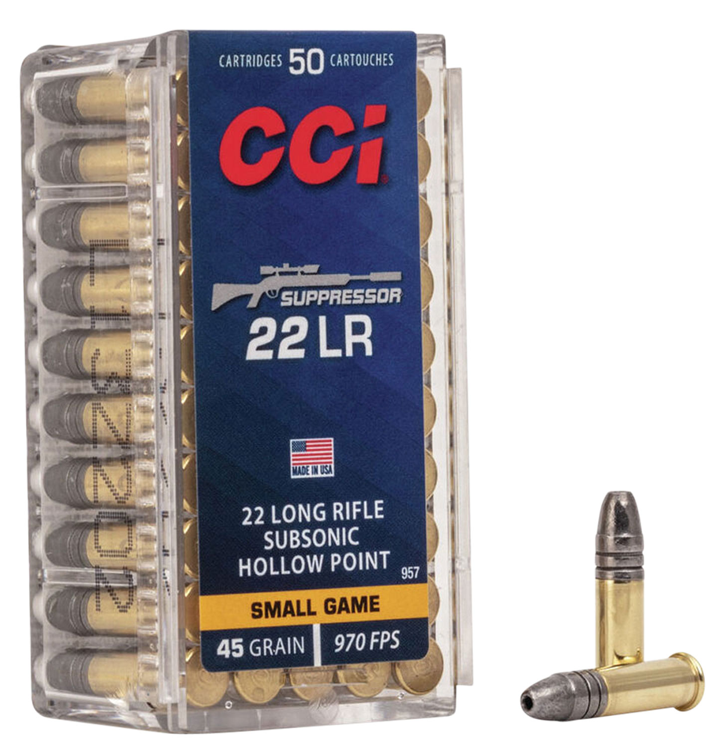 CCI 957 Suppressor 22 Long Rifle SubSonic Hollow Point 45 GR 50Box/100Case