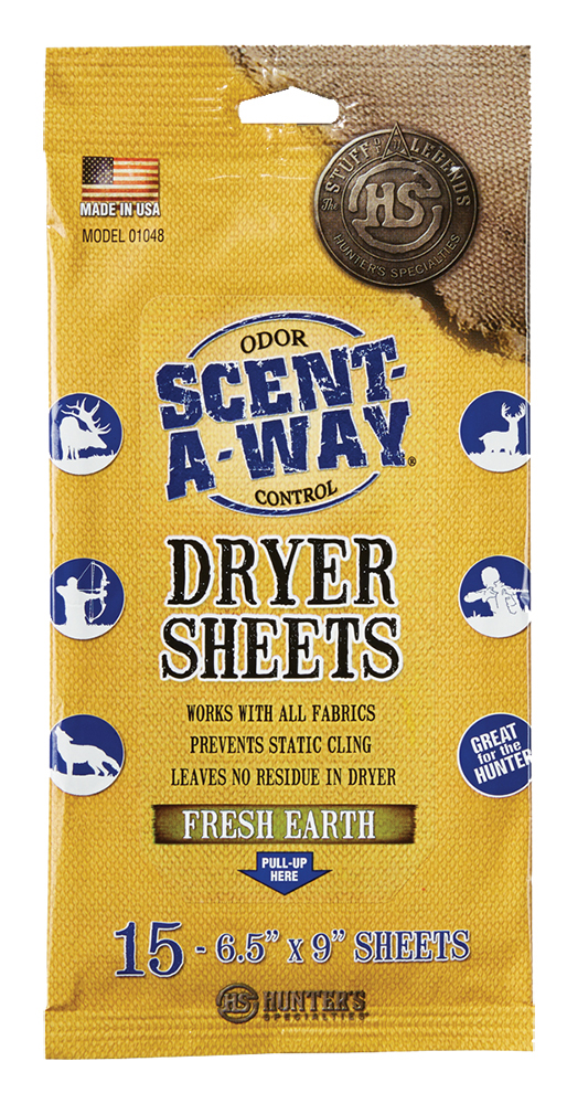 Hunters Specialties 01048 Scent-A-Way Scent Killer Dryer Sheets 15 Sheets