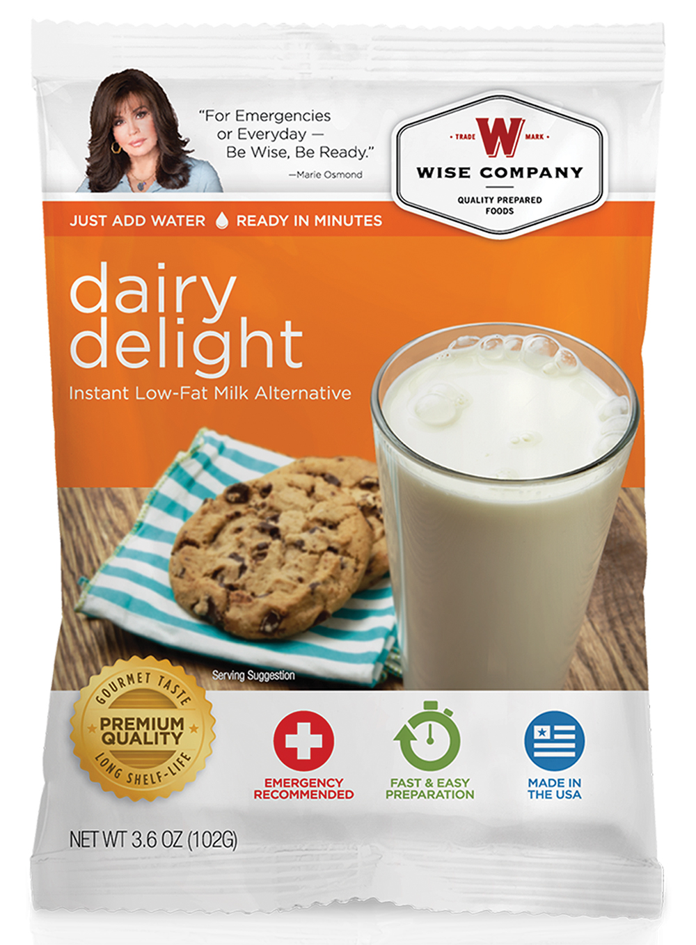 Wise Foods 05814 Outdoor Camping Pouch Vanilla Dairy Delight 6 Count