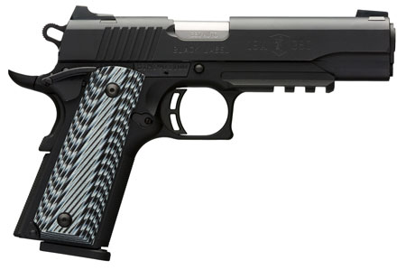 Browning 051901492 1911-380 Black Label Pro with Rail SAO 380 Automatic Colt Pistol (ACP) 4.25″ 8+1 3-Dot Black G-10 Grip Black