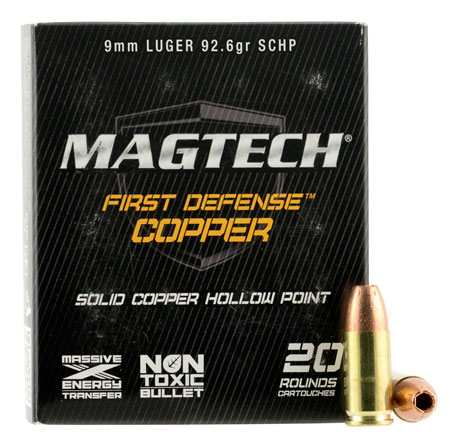 Magtech FD9A FIRST DEFENSE 9mm Solid Copper Hollow Point 93 GR 20Box/50Case