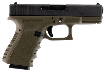 Glock 10 + 1 Round Double Action Only 9MM w/Fixed Sights & Olive Drab Finish