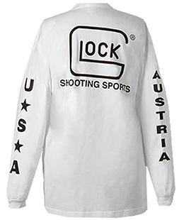 Glock AP61404 T-Shirt Shooting Sports Long Sleeve Cotton Medium White