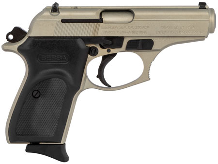 Bersa T380NKL8 Thunder 380 Standard DOA 380 Automatic Colt Pistol (ACP) 3.5″ 8+1 Blk Checkered Grip Nickel