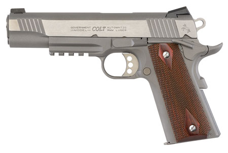 Colt Mfg O1072RG 1911 Government Rail Single 9mm 5″ 9+1 Wood Grip Stainless