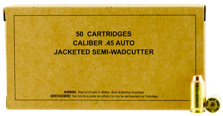 Winchester Ammo Ammo SG45SWC Service Grade 45 ACP 185 GR Jacketed Semi-Wadcutter 50 Bx/ 10 Cs