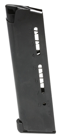 Wilson 500BC 1911 Replacement Magazine 45ACP 8rd Lo Profile Steel Base Pad Black