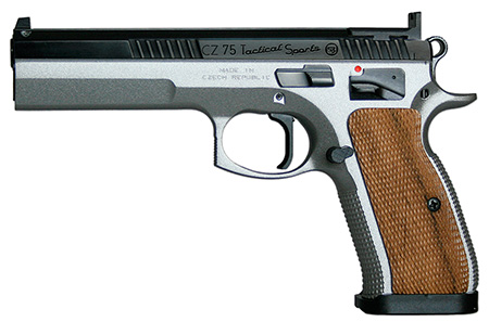 CZ 91171 CZ-75 Tactical Sport 40 S&W 5.4″ 12+1 Checkered Walnut Grip Dual-Tone