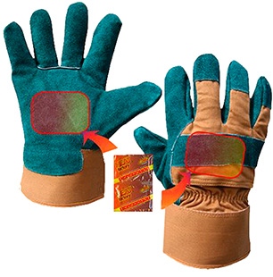 Heat Factory 931 Utility Glove w/Warmers Green Lg Poly/Cotton/Leather