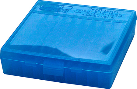 MTM P1004524 P-100 Flip-Top Pistol Ammo Box 1.3″ OAL Blue Poly