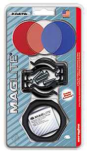 Maglite ASXX376 Accessory Pack D-Cell Clear/Red/Blue Lenses w/Holder/Brackets