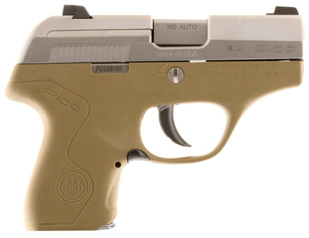 Beretta USA JMP8D55 Pico 380 Double 380 Automatic Colt Pistol (ACP) 2.7″ 6+1 AS Flat Dark Earth Polymer Grip/Frame Stainless Steel