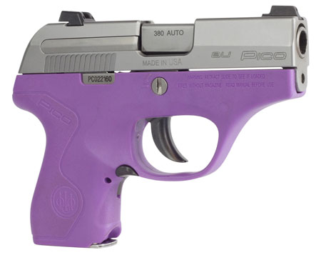 Beretta USA JMP8D85 Pico Double 380 Automatic Colt Pistol (ACP) 2.7″ 6+1 AS Lavender Polymer Grip/Frame Stainless Steel
