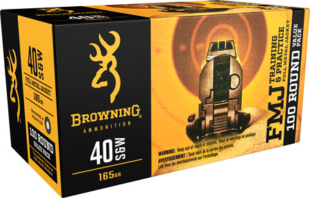 Browning Ammo B191800404 Training & Practice 40 Smith & Wesson (S&W) 165 GR Full Metal Jacket 100 Bx/ 5 Cs