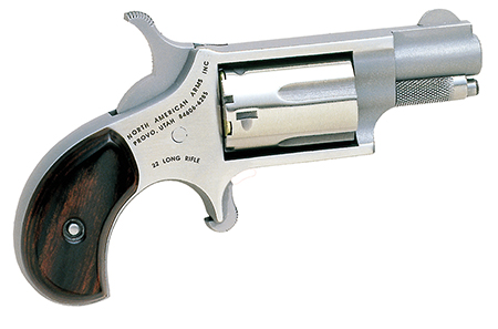 NAA 22LR Mini-Revolver 22LR 1.12″ 5rd Rosewood Grip Stainless