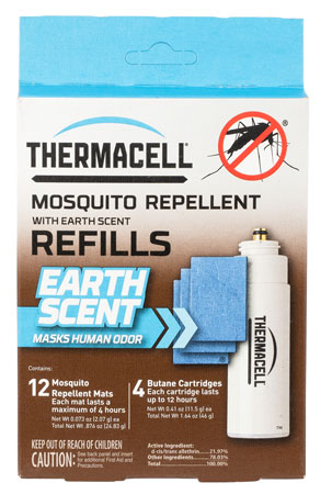 Thermacell E4 Repellent Appliance Refill Scent Mat and Butane Mosquito, Black Fly, No-See-Ums Earth