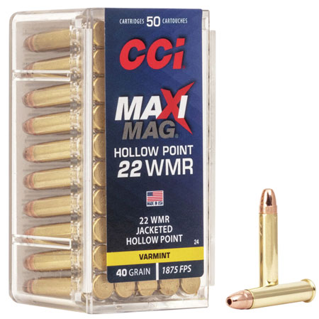 CCI 0024 Varmint Maxi Mag 22 Win Mag Jacketed Hollow Point 40 GR 50Box/40Case