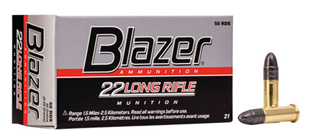 CCI 0021 Blazer High Velocity  22 Long Rifle (LR) 40 GR Lead Round Nose 50 Bx/ 100 Cs