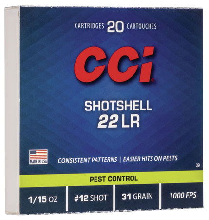 CCI 0039 Low Noise/Training/Specialty 22 Long Rifle #12 Shot 31 GR 20Box/100Case