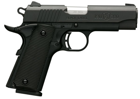 Browning 051905492 1911-380 Black Label Compact SA 380ACP 3.6″ 8+1 Black Composite Grip Black