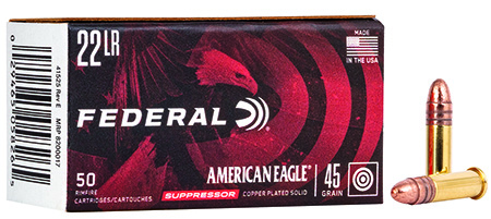 Federal AE22SUP1 American Eagle Suppressor  22 LR 45 GR Copper-Plated Solid Point 50 Bx/ 100 Cs