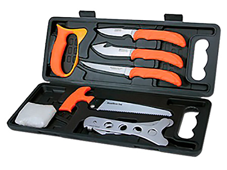 Outdoor Edge WP2 Wild-Pak Game Processor Set Multiple 420J Stainless Japanese Skinner w/Gut Hook/Saw/Caping Rubber