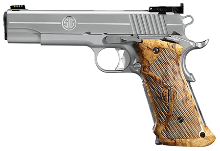Sig 191145SSTGT 1911 Stainless Super Target SAO 45 ACP 5″ 8+1 AS Wood Grip SS